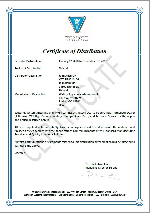 WSI Certificate 2018