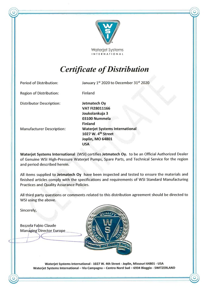 Waterjet Systems International - Certificate of Distribution 2020